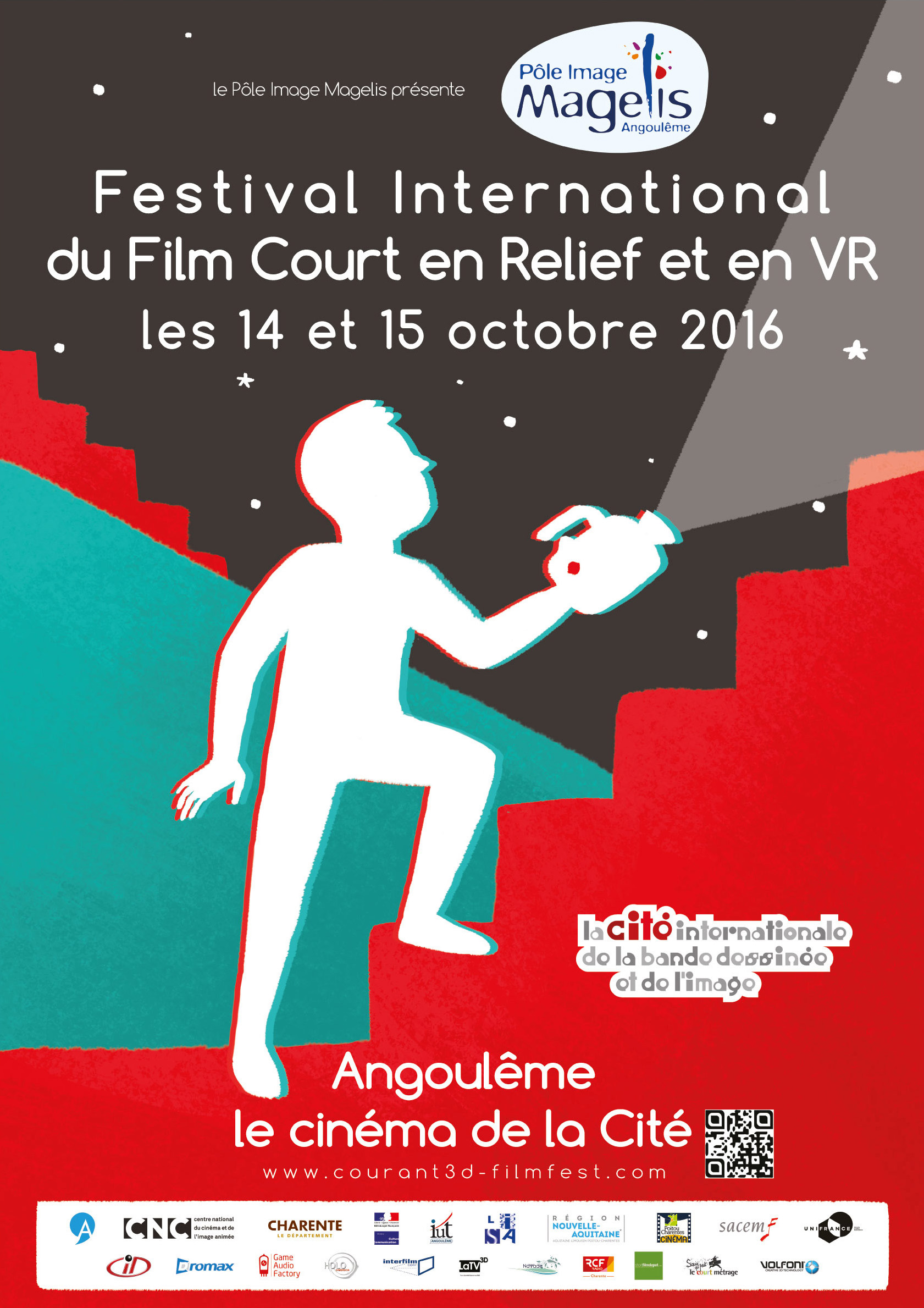 2016 Poster of the International Film Festival runs in relief and virtual reality, Angouleme, Courant3D
